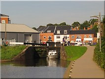 SO8453 : Small boat leaving Lock 2 by Christine Johnstone