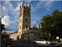 SP5206 : Magdalen College Chapel Tower and Limousine by Ivan Hall