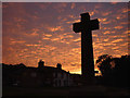 SD5270 : The cross on the green at dusk, Over Kellet by Karl and Ali