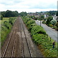 SO3205 : Railway SW of Penwern Lane bridge near Penperlleni by Jaggery