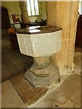 SY7699 : St Martin, Cheselbourne: font by Basher Eyre