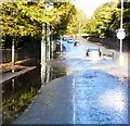 SJ9493 : Flash flood on Stockport Road by Gerald England