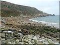 SW4524 : The stony beach at Lamorna Cove by Humphrey Bolton