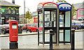 J2891 : Pillar box and telephone boxes, Ballyclare by Albert Bridge