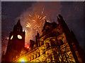 SJ8398 : Fireworks, Manchester Town Hall by David Dixon