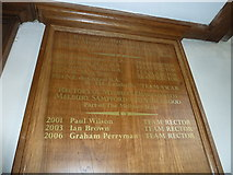 ST5707 : Melbury Osmond Church: incumbency board  (II) by Basher Eyre