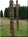 NY7976 : Totem poles, Stonehaugh - detail by Oliver Dixon
