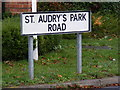 TM2851 : St.Audry's Park Road sign by Adrian Cable