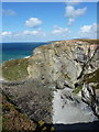 SW6746 : Rather steeply down into an unnamed cove by Richard Law