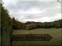 TQ1752 : Public bridleway sign at the Whitehill car park by Peter S
