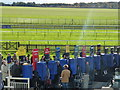 TL6262 : Behind the bookmakers boards - Rowley Mile Racecourse, Newmarket by Richard Humphrey
