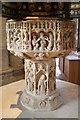 SK9136 : Font, St Wulfram's church, Grantham by J.Hannan-Briggs