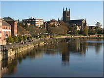 SO8454 : Worcester Cathedral and the River Severn by Philip Halling
