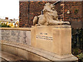 SJ9698 : Stalybridge War Memorial Lion by David Dixon