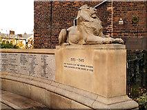 SJ9698 : Stalybridge War Memorial Lion by David Dixon