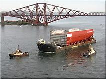 NT1279 : AMT Trader barge and Forth Bridge by M J Richardson