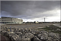 SD4264 : Morecambe beach and the Midland Hotel by Peter Moore