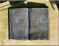 TQ2274 : The Sam and Dickie sculpture at Queen Mary's Hospital: detail - the open book by Stefan Czapski