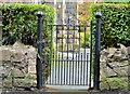 J3581 : Church gate, Whitehouse, Newtownabbey (1) by Albert Bridge