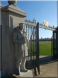 TQ7668 : Statue and Gate, Chatham Naval Memorial by David Anstiss