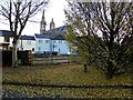 H4472 : Fallen leaves, Abbey Place, Omagh by Kenneth  Allen