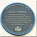 SJ8990 : Bull's Head blue plaque by Gerald England