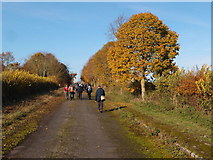 SP7006 : Walking group on the stopped up former B4011 by Michael Trolove