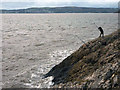 SD4574 : Sea angling at Know End Point, Silverdale by Karl and Ali
