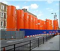TQ2681 : Cement cylinders, Eastbourne Terrace, Paddington, London by Jaggery