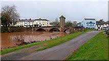 SO5012 : Bridge over the swollen Monnow by Jonathan Billinger