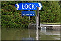 SU2299 : Lock sign and flood mark, St. John's Lock by Rob Noble