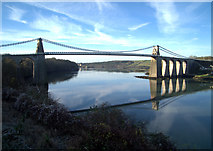 SH5571 : A panorama of the Menai Suspension Bridge by Richard Hoare