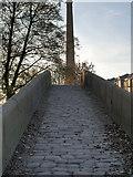 SJ9398 : Bridge and Mill Chimney, Portland Basin by David Dixon