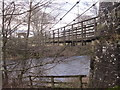 NY7786 : Suspension Bridge over the River North Tyne by Les Hull