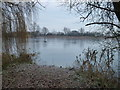 TL4390 : Frozen fishing lake at the end of Block Fen Drove, Wimblington by Richard Humphrey