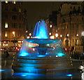 TQ3080 : Fountains in Trafalgar Square at night by Steve  Fareham