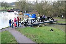 SP6989 : Grand Union Canal, Foxton - swing bridge. by Chris Allen
