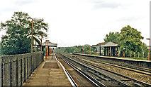 TQ0562 : Byfleet & New Haw station, 1986 by Ben Brooksbank