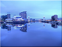 SJ8097 : Manchester Ship Canal at Salford Quays by David Dixon