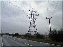 TA1914 : Power lines crossing the A1173 near Immingham by Steve  Fareham