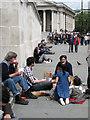TQ2980 : Picnics in Trafalgar Square, W1 by Robin Stott