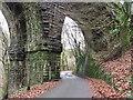 ST0896 : Taff Trail passing under Quaker's Yard viaduct by John Light