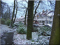 TQ3268 : Grangewood Park and view onto Grange Road, after a scattering of snow by Christopher Hilton