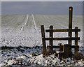 SK4569 : Stile and field in snow by Andrew Hill