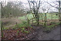 SJ8180 : Footpath, stile and waymark by Saltersley Hall Farm by Peter Turner