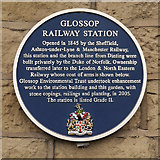 SK0394 : Glossop Railway Station (blue plaque) by David Dixon