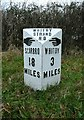 NZ9208 : Mile post at Hawsker by Humphrey Bolton