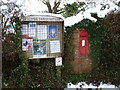 ST5205 : Corscombe: postbox № DT2 115 and noticeboard by Chris Downer