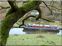 SD9726 : Canal boat on the Rochdale Canal near Charlestown by John Glasby