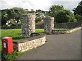 SX9272 : Entrance pillars and dog bin, St George's Field by Robin Stott